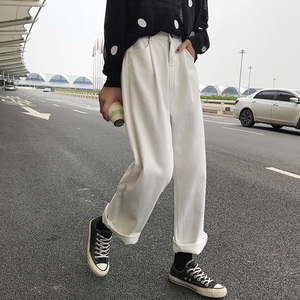 Image 4 - ג ינס נשים Loose גבוה מותן פנאי מלא אורך רחב רגל ז אן כל להתאים קוריאני סגנון פשוט נשים טרנדי harajuku יומי שיק