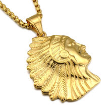 Gold Color 316L Stainless Steel Indian Tribal Chief Pendant Necklace For Men Cool Jewelry High Quality(China)