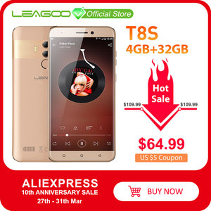 Image 1 - LEAGOO T8s  4GB RAM 32GB ROM Mobile Phone Android 8.1 5.5 1920*1080 MTK6750T Octa Core Face ID 13MP Dual Camera 4G Smartphone