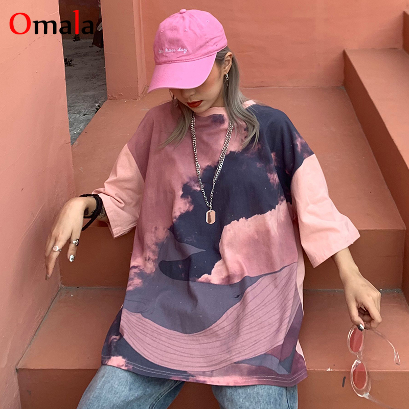 2020 Summer Harajuku Oversize Casual T Shirt Korean Ulzzang Cool Streetwear Printing Tshirt Top All-match Students Pink T-shirts