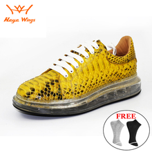 Men's High-end Python skin sport shoes Increased men's casual shoes white color
