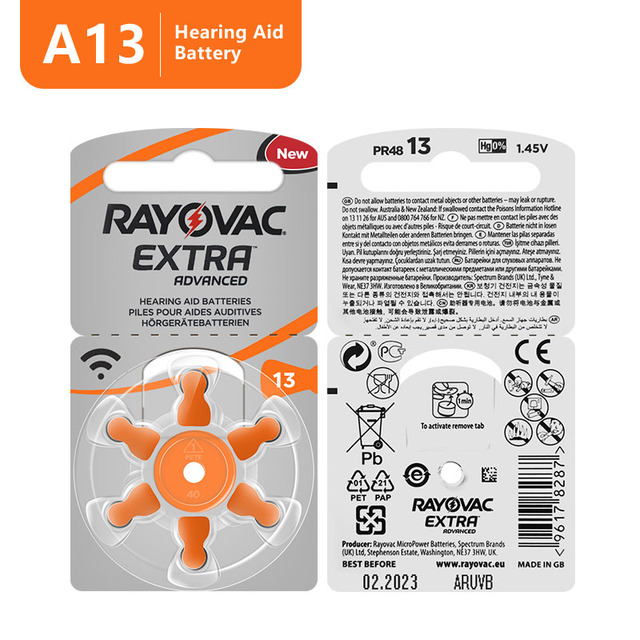 60 PCS Rayovac Extra High Performance Hearing Aid Batteries. Zinc Air 13/P13/PR48 Battery for BTE Hearing aids Free Shipping