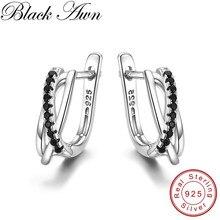 Хит, классические серебряные ювелирные изделия из натуральной 925 пробы, Черный шпинель, милые серьги-кольца для женщин, Bijoux Femme I023
