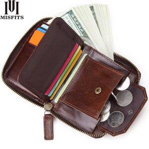 Мужской короткий кошелек MISFITS, брендовый модный кошелек из воловьей кожи на молнии с карманом для монет, мини-кошелек ручной работы, 2020