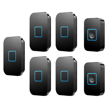 CACAZI Waterproof Wireless Doorbell 60 Chimes 5 Volume 0-110db 300M Remote Home Door Ring Bell US EU UK Plug 2 Button 5 Receiver
