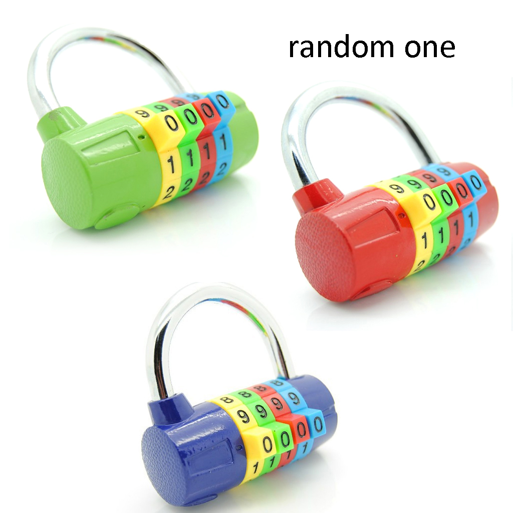 1pcs 4-Digit Resettable Number Travel Gym Locker Rust Resistance Padlock Random Color For Securing Luggage Gym Briefcases Purses