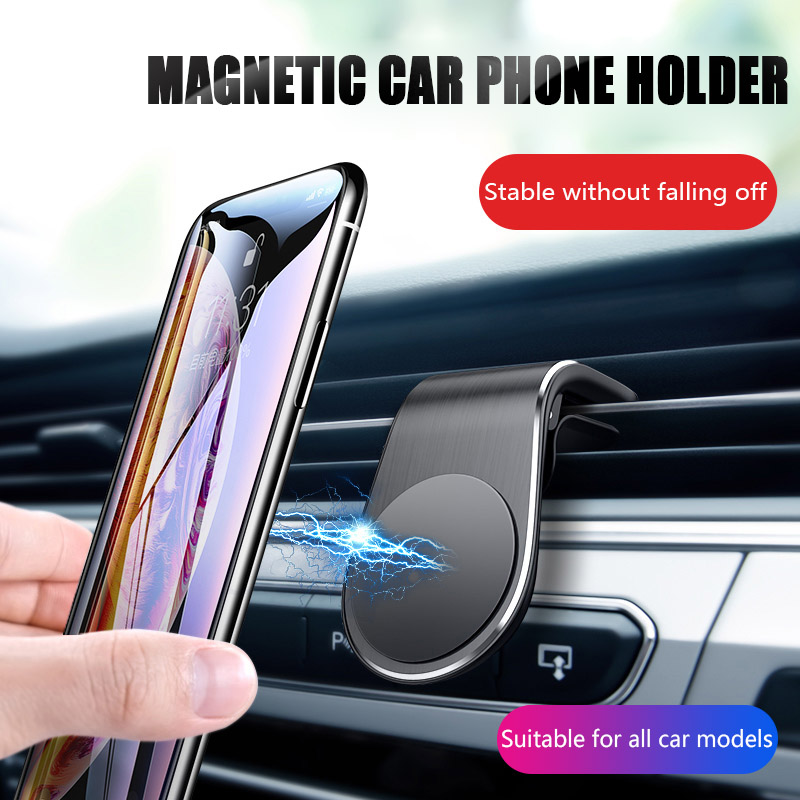 Magnetic Car Holder L Shape Air Vent Mount Stand In Car Magnet GPS Mobile Phone Holder For IPhone X 7 Samsung A50 Xiaomi