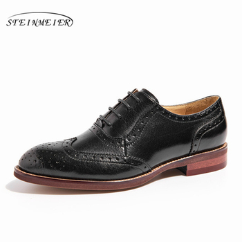 Women Genuine leather shoes brogues yinzo lady flats vintage handmade sneakers oxford for women brown black blue red