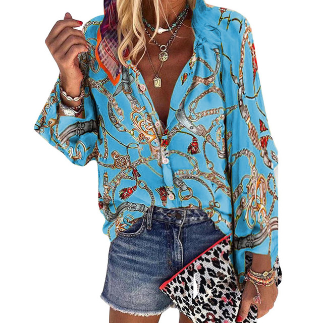 2020 New Design Plus Size Women Blouse V-neck Long Sleeve Chains Print Loose casual Shirts Womens Tops And Blouses 5
