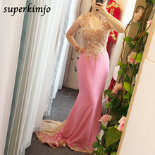 lace prom dresses real picture mermaid pink 2020 sweetheart neckline court train appliques chiffon beaded evening