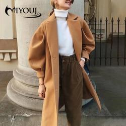 Miyouj camelo cor lã outerwear rendas até roupas femininas 2020 outono inverno vintage puff manga mulher casacos