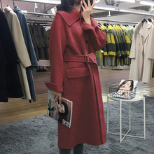 2019 Long Square Collar Double-sided Coat Women High-end Casual Wear Tie with Woman Adjustable Waist