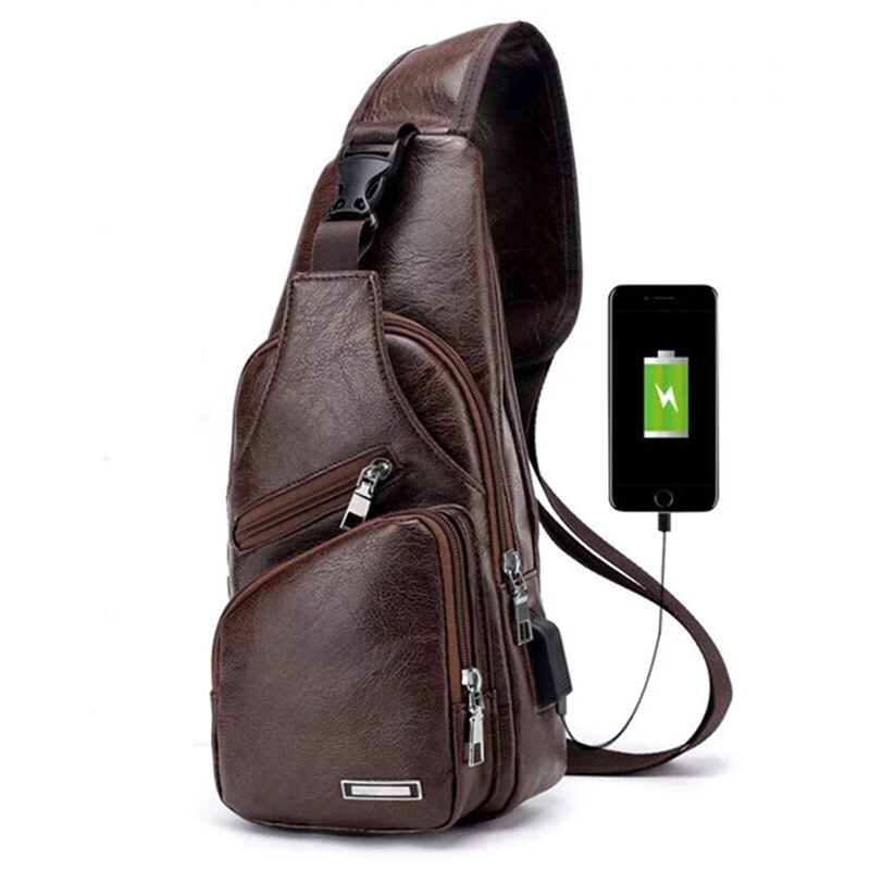 Men's Chest Bag With Charge Port USB Bag Retro Crossbody Pu Leather Vintage Business Bag Pouch For Sport Dark Brown