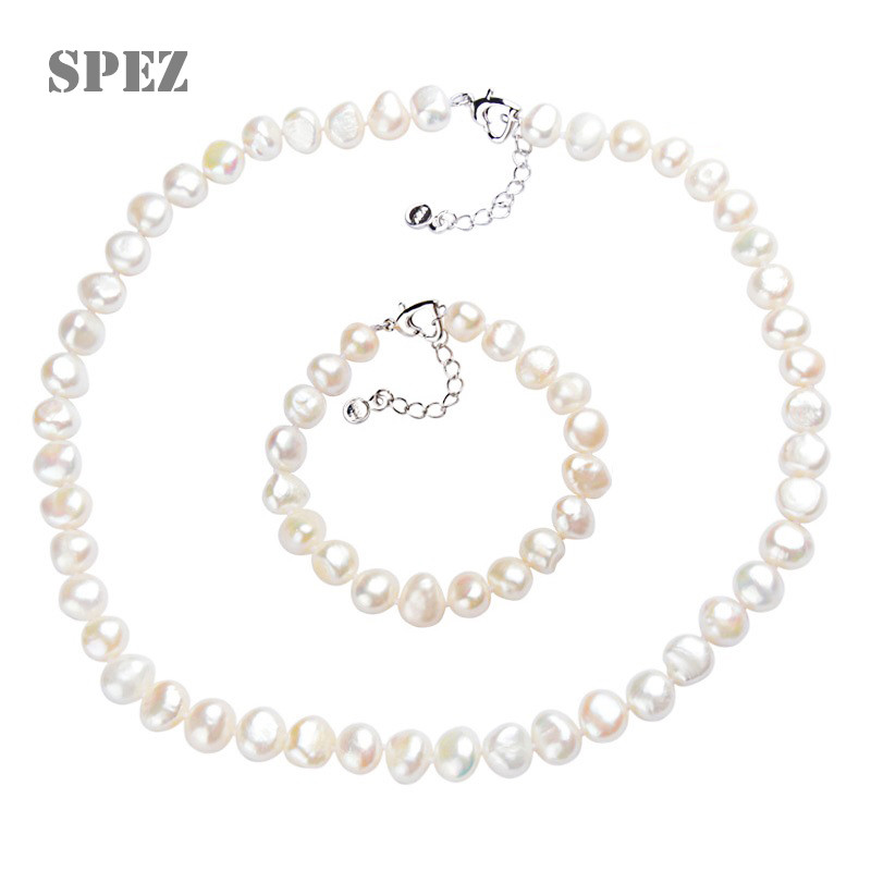 Natural pearl Jewelry Sets Real Baroque Freshwater pearl Necklace Handmade Bracelet for women Gift New Arrivals 2019 SPEZ