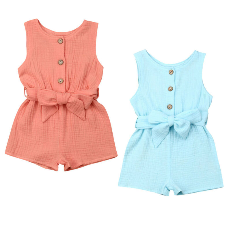 Baby Girl Clothes Sleeveless Home Jumpsuit Age 0-18M Cotton Sleeveless Romper
