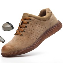 גברים נעלי בטיחות הבוהן פלדה אמיתי עור חיצוני אנטי לנפץ אנטי פירסינג לנשימה לעבוד נעלי זכר החלקה לעבוד מגפיים