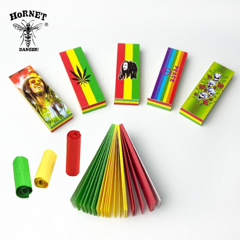 288 leaves HORNET 6 Booklets cool 3 Color Natural Cigarette Paper Tips Filter Rolling Smoking accessories Tobacco Paper Slim tip 1