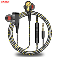 3.5mm In Ear Hybrid Hifi Stereo Headphones Wired Hi Fi Dual Drivers Earphone with Microphone Noise C