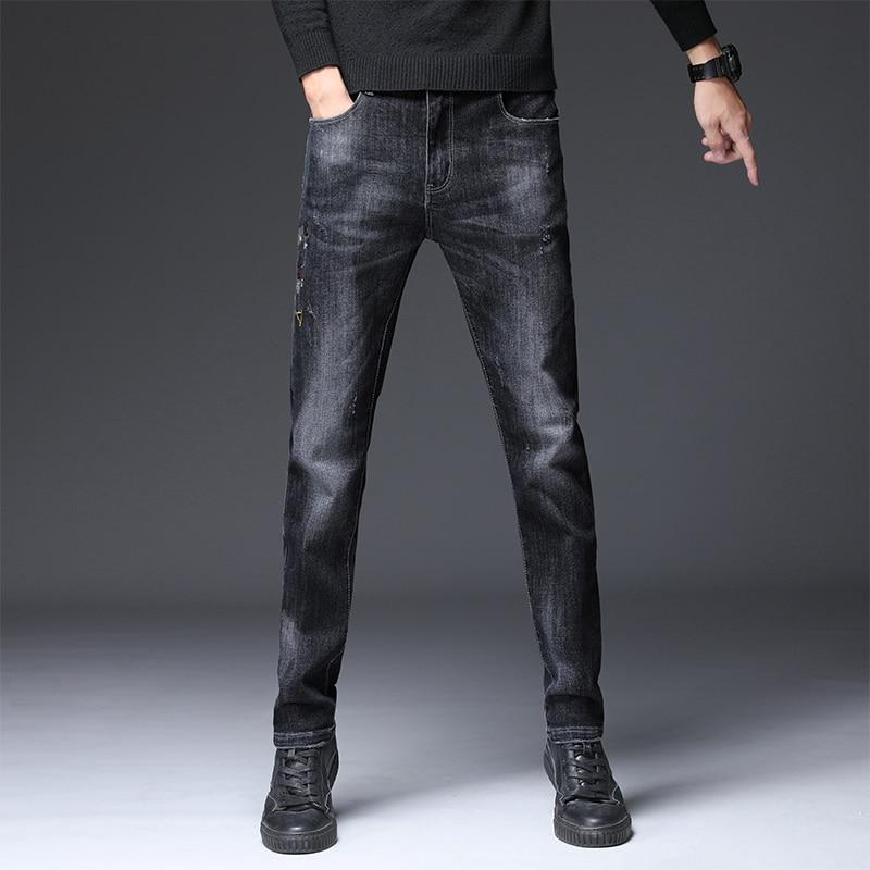 2019 Men's Pants Autumn Winter New Leisure Stretch Personality Pants Men's Shown Jeans