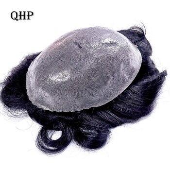 Парик для мужчин, ручная работа, сменные системы, искусственная кожа, прозрачная, тонкая кожа, 0,10-0,14 мм, индийские натуральные волосы Remy, 6 дюй...