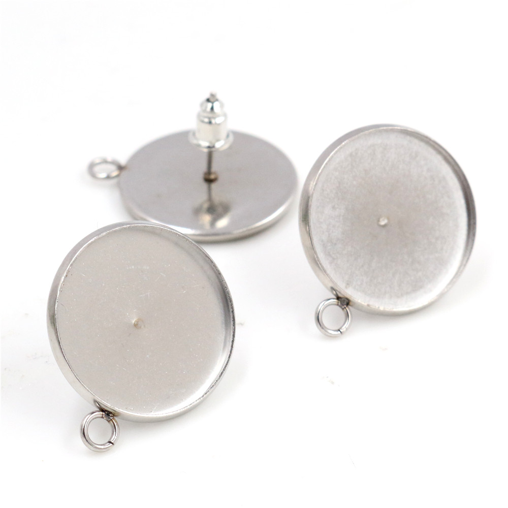 ( No Fade ) 18mm 10pcs/lots Stainless Steel Earring Studs,Earrings Blank/Base,Fit 18mm Glass Cabochons,Buttons-T7-32