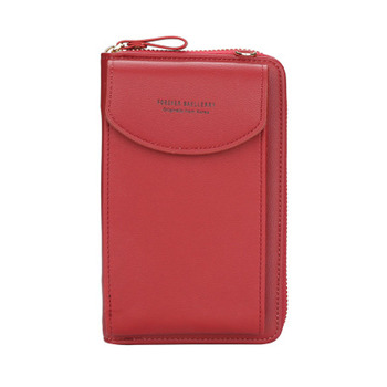 2020 new ladies wallet solid color small Messenger bag multi-function cell phone pocket portable with chain shoulder bags - Red, One Size