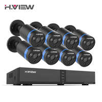 H.VIEW 8ch 400W CCTV Camera System PoE H.265 CCTV Camera System 4mp Surveillance Kit PoE 48V Surveillance Kit Full HD