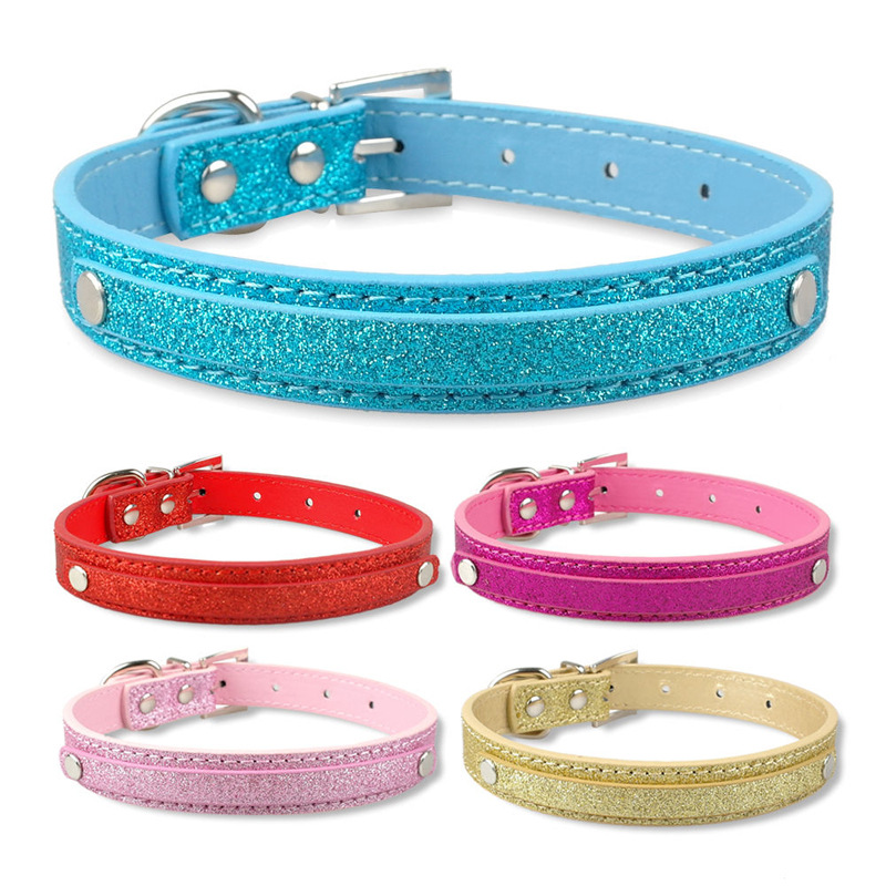 Cool DIY Pet Necklace Pu Glittering Powder Neck Ring Medium-sized Dog Neck Ring Cat Neck Ring Traction Currently Available Whole