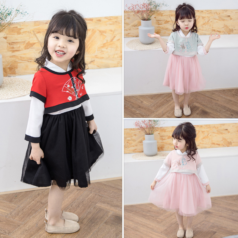 Girls Spring And Autumn Chinese Costume Dress Chinese-style Chinese Clothing Baby Princess Dress 2019 New Style Childrenswear
