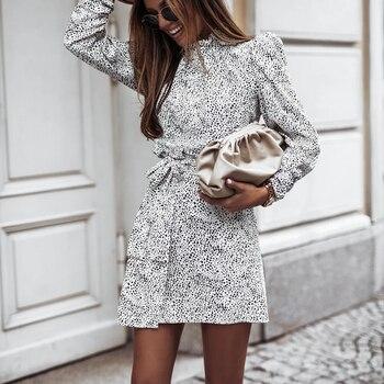 Autumn Turtleneck Leopard Print Wrap Dress For Women Winter Casual Long Puff Sleeve Dress Sashes Elegant Mini Party Vestidos cherry print wrap dress