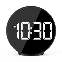 Yooap LED electronic alarm clock with voice-activated temperature bed head creative mirror