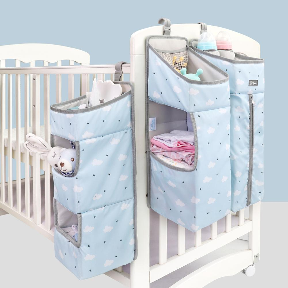Orzbow Baby Bed Crib Organizer Hanging Bags For Newborn Baby Bedding Set Organizer Diaper Storage Bag Kids Bed Linen