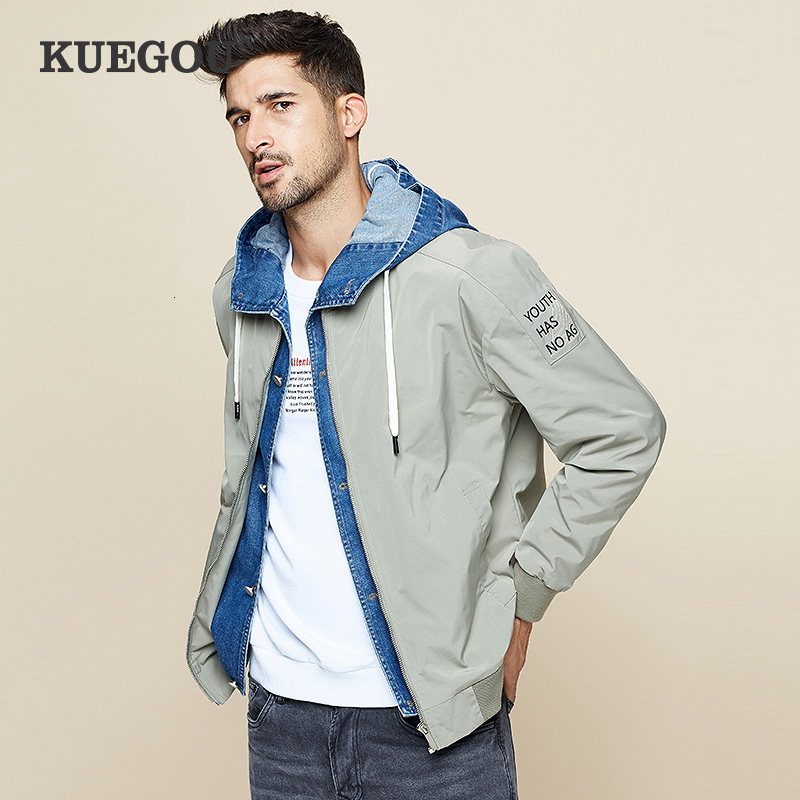 KUEGOU 2019 Autumn Patchwork Denim Hooded Jacket Men And Coat For Male Hip Hop Japanese Streetwear Vintage Korean Clothes 0949
