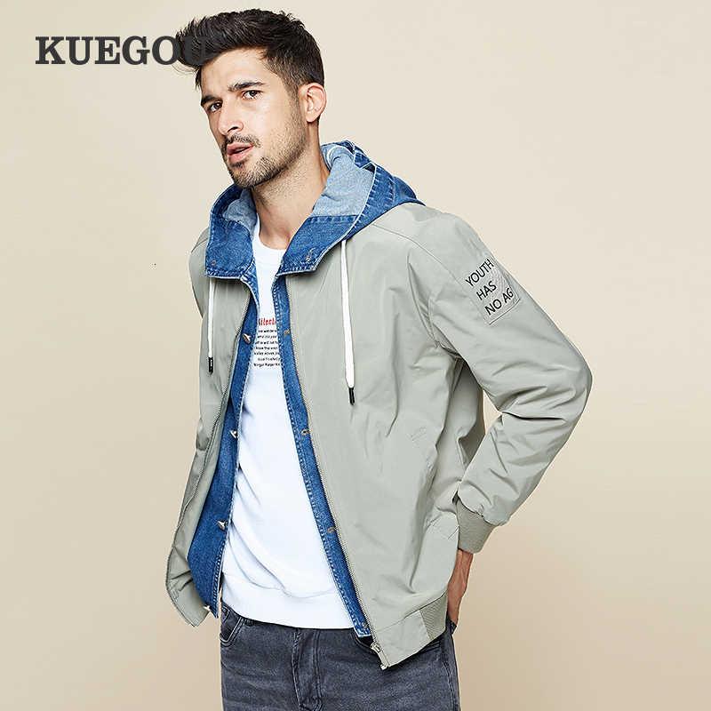 KUEGOU 2019 가을 패치 워크 데님 후드 자켓 남성용 힙합 남성용 코트 Japanese Streetwear Vintage Korean Clothes 0949