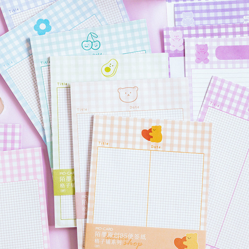 Colorful Grid Memo Pad B5 Notepad 30 Sheets Creative Stationery Notebook Gift
