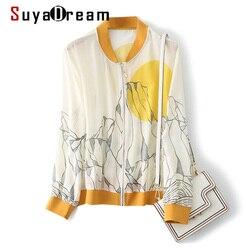 SuyaDream Women Silk Jackets 100%Silk Print Zip-up Sweatshirts 2020 Summer Fall Office Lady Outwear