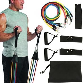 11 w zestawie ulepsz pętle do ćwiczeń oporowych potężnie skuteczny do ćwiczeń fitness sportowy domowa siłownia joga tanie i dobre opinie Resistance Bands Kit