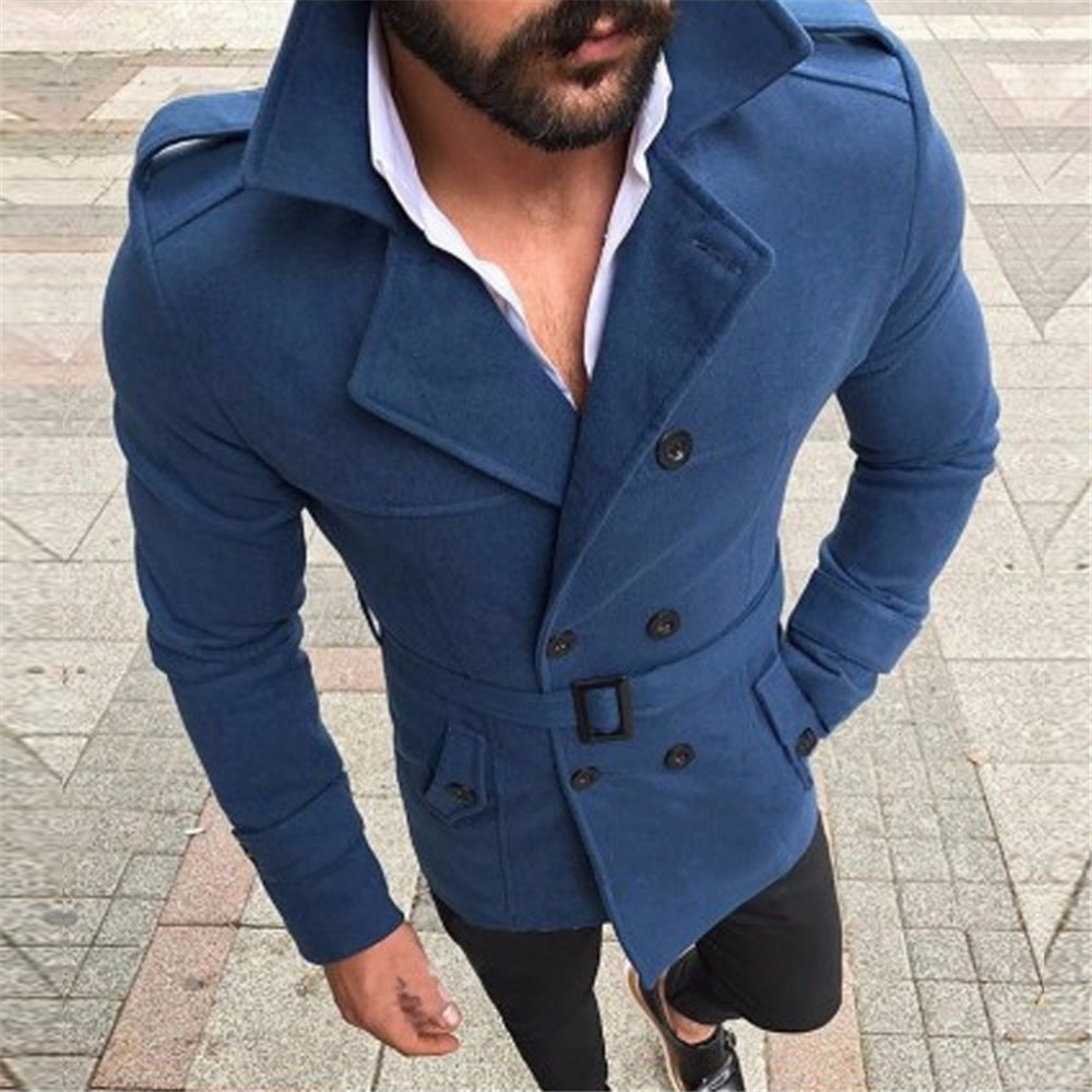 New Fashion Men Trench Coats Autumn Winter Medium Long Fleece Blends Jackets Streetwear British Style Casual Overcoats For Men