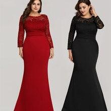 Русалка размера плюс длина до пола вечернее платье Новая осень кружева совок платье на молнии вечерние платья