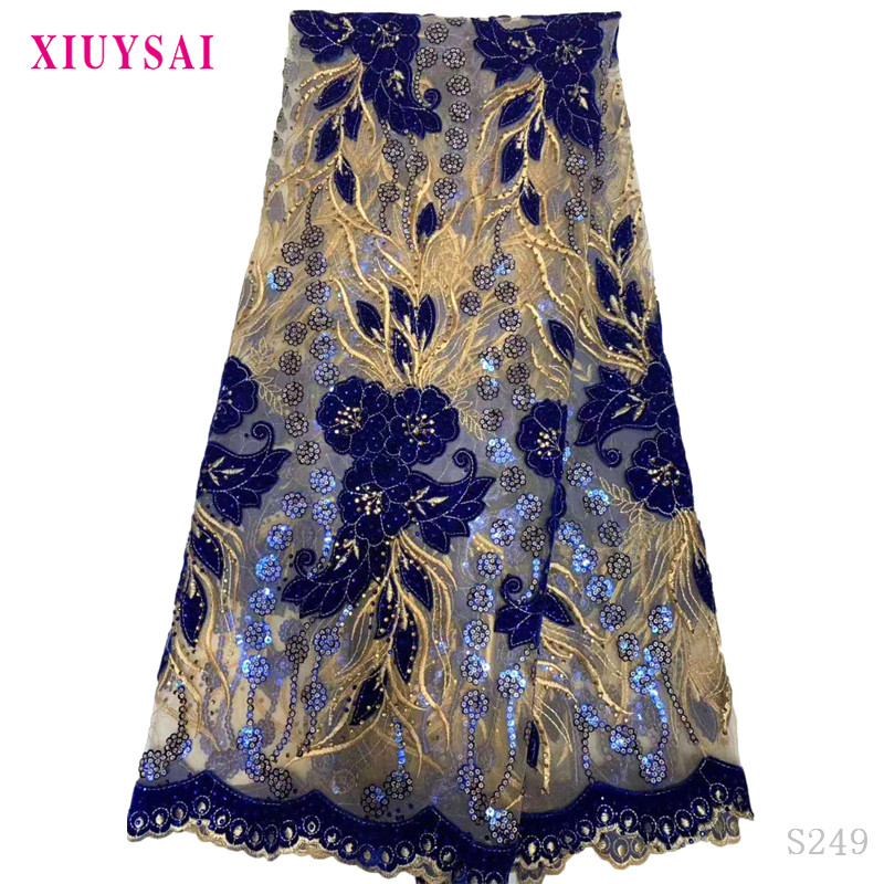 Latest African lace fabric 2020 High Quality Velvet Lace royal Blue Nigerian Lace Fabrics For Wedding dress 5yards  S249