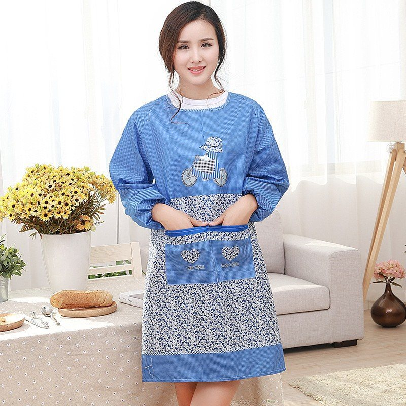 Wear-Resistant Long Sleeve Apron Thin Apron Oil Summer Dress Women's Thin Mom Household Protective Clothing Dustproof Do Not Fad