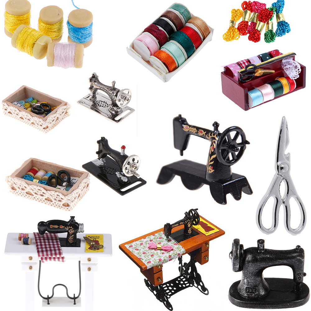 1:12 Mini Sewing Machine Tools For Girl Doll House Decoration Dollhouse Miniature Accessories Simulation Home Furniture Toys