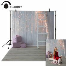 Allenjoy photography backdrops Wooden background small bulbs ladder gifts for a photo shoot kids Photophone