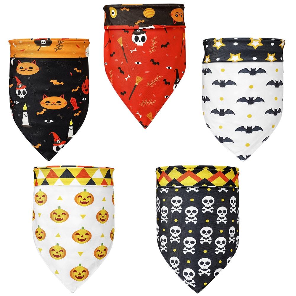 Halloween Dog Bandana Triangular Scarf Pet Bandanas Pumpkin Bat Ghost Drool Bibs Scarf for Pet Dog Cat