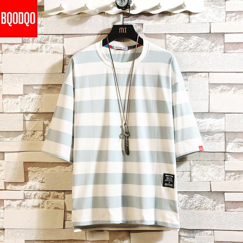 Black Fashion T Shirt Mens Cotton Tshirt Striped For Men Tee Summer Japanese Casual T shirts Streetwear Fitness Tees Oversized|T-Shirts| - AliExpress