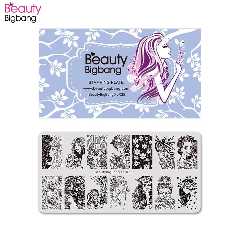 BeautyBigBang nagel stempelen mooi jong meisje bloem afbeelding Nail Art stempel stempel sjabloon voor Nail Art platen BBB XL-025