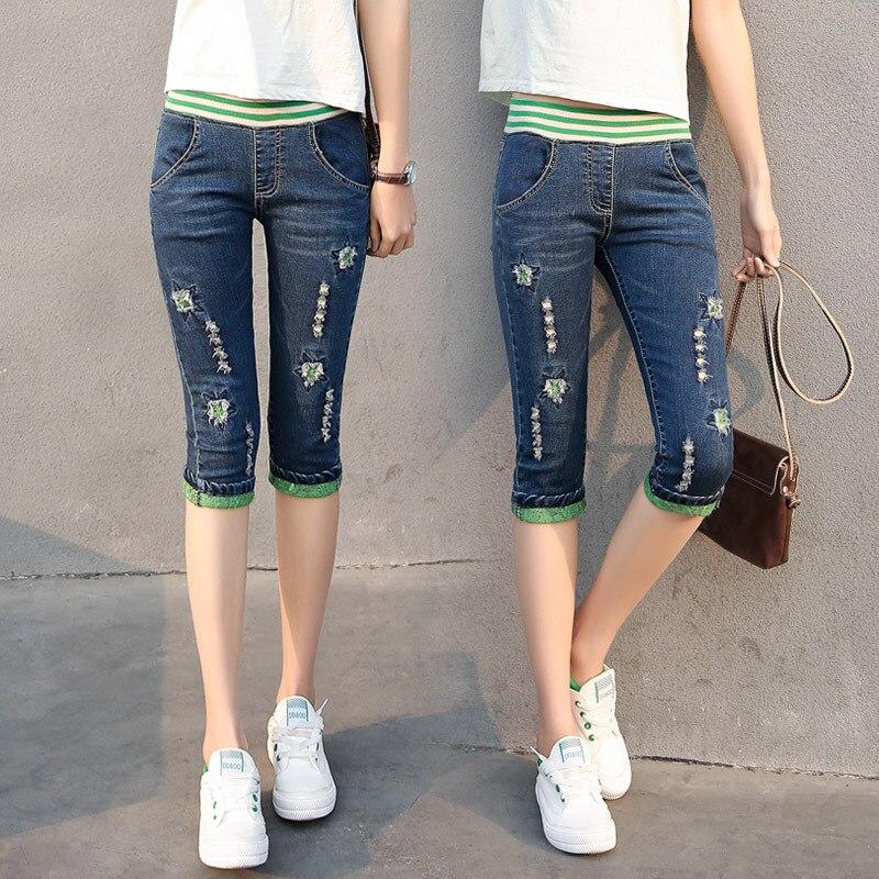 Summer Elastic Waist Cuffs Denim Capri Jeans Women Ripped Hole Patch Streetwear Jean Shorts Skinny Stretch Knee Length Pants