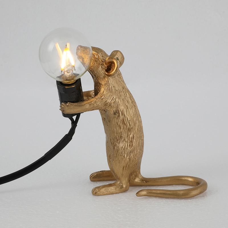 2019 Hot Table Lamp Mouse Shape Resin Desk Light Bedside Lamp Light Home Room Decor D6