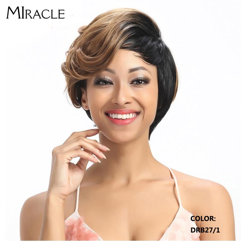 Peluca milagrosa ondulado corto pelucas de pelo sintético peluca Ombre Bob para mujeres negras peluca seca Mohi peluca sintética resistente al calor envío gratis