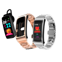 K11 Bluetooth earphone smart watch with microphone Bracelet full touch screen Oxygen Saturation Watch Band Music Player